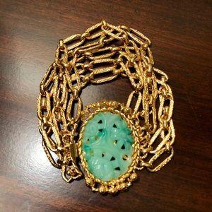 Jewelry - Vintage Carved Jade Goldtone Strand Link Bracelet